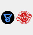 2nd place medal icon and distress gold vector image vector image
