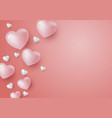 3d hearts on coral color background vector image vector image