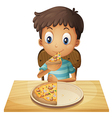 A young boy eating pizza vector image