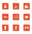 attachment to room icons set grunge style vector image