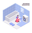 bath room repair isometric composition vector image vector image
