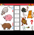 big and small animals cartoon game for kids vector image vector image