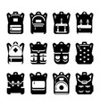black and white backpack silhouette set vector image