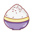 bowl with rice food japanese menu cartoon isolated vector image vector image