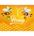 cartoon bee with delicious honey vector image vector image