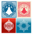 christmas cards set with vintage ornaments vector image vector image