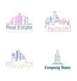 City buildings logo silhouette icons vector image vector image