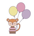 cute monkey with cake birthday and balloons vector image vector image