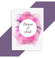 elegant pink watercolor and leaves wedding card vector image