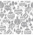 entangle sketch style xmas baubles pattern vector image vector image
