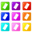 eraser icons 9 set vector image vector image
