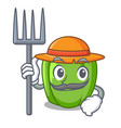 farmer green pepper in the plate character vector image