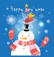 festive christmas card with a snowman and a dog vector image vector image