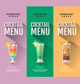 flat cocktail menu design set of banners vector image vector image