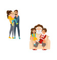 flat family characters hugging set vector image
