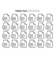 flat style icon set video movie film file type vector image vector image