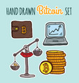 hand drawn colorful bitcoin set vector image