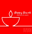 happy diwali minimal design for flyer card vector image