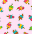 Ice cream popsicle patch icon seamless pattern vector image vector image