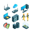 isometric icon set of different electronic systems vector image vector image