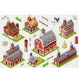 Isometric Old Building - American Barn Set Tiles vector image vector image