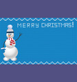 knitted christmas template with snowman on blue vector image
