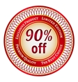 Label on 90 percent discount vector image vector image