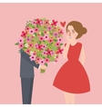man give large flower bouquet to his girl friend vector image vector image