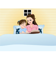 Mom telling fairy tales to daughter at bed time vector image