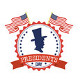President day seal stamp with flags and gentleman