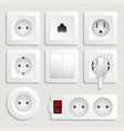 realistic electric wall outlet icon set vector image