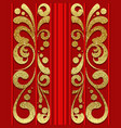 red seamless pattern with golden vertical ornament vector image vector image
