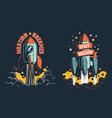 rocket launch retro emblem vector image vector image