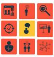 set 9 executive icons includes project vector image vector image