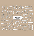 set of hand drawn arrows on craft paper vector image