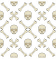 set of seamless patterns with skull and bones vector image vector image