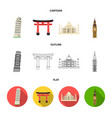 sights of different countries cartoonoutlineflat vector image