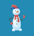 snowman like with top hat and scarf isolated on vector image vector image