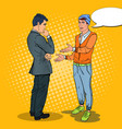 stylish teenager talking with his father pop art vector image vector image