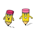 Two happy pencils drawing squiggly lines vector image vector image