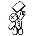Voodoo doll holding sign