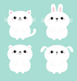 white cat kitten kitty bear dog puppy rabbit vector image