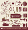 wine and drink design elements vector image