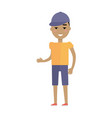 young european man in t-shirt breeches and cap vector image vector image