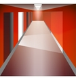 Red Corridor and doors Light at the end The vector image