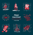 christmas hand drawn sketch icons on dark blue vector image