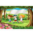 A jungle with three kids with an empty banner vector image vector image