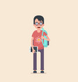 a student is wearing glasses vector image vector image