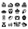 bakery dessert icon set vector image