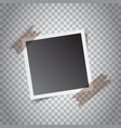 blank retro photo frames with sticker on grey vector image vector image